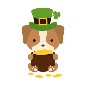 Cute dog in green leprechaun hat with clover holds bowler with gold coins. Cartoon sweet animal. Vector St. Patrick's Day illustration on white background. Irish holiday folklore theme.