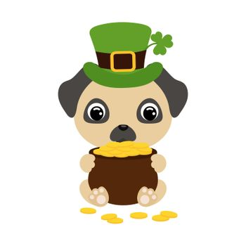 Cute pug dog in green leprechaun hat with clover holds bowler with gold coins. Cartoon sweet animal. Vector St. Patrick's Day illustration on white background. Irish holiday folklore theme.
