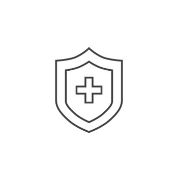 Medical Insurance Thin Line Vector Icon. Flat Icon Isolated on the Black Background. Editable Stroke EPS file. Vector illustration.