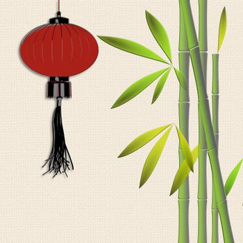 Red hanging lanterns, bamboo on pSTEL yellow background. Traditional Asian decor for Lantern festival, mid autumn celebration, Chinese New Year. Place for text. 3D illustration