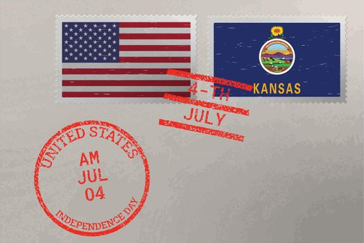 Postage stamp envelope with Kansas and USA flag and 4-th July stamps, vector.
