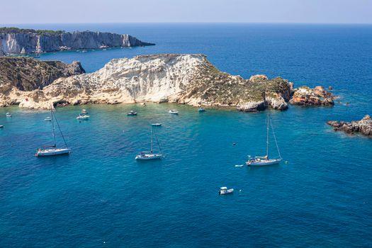 View of the Tremiti Islands. San Domino island, Italy: scenic view of tipycal rocky coastline. Adriatic Sea. Puglia, Italy.
