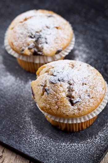 Two fresh homemade muffins with sugar powder closeup on black board background.