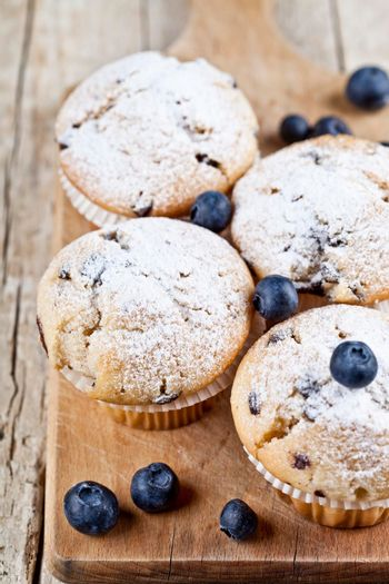 Four homemade fresh muffins with blueberries on rustic wooden table background.