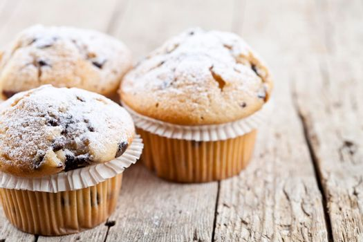 Homemade fresh muffins with sugar powder closeup on rustic wooden table background. With copy space.