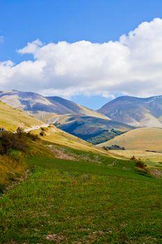 Fields in Castelluccio di Norcia, Umbria, Italy. October 2019.