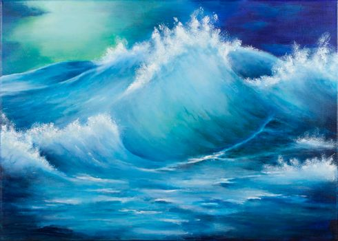 Original oil painting showing waves in ocean or sea on canvas. Modern impressionism, modernism, marinism.