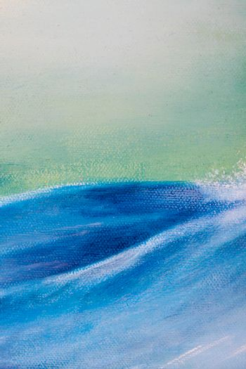 Original oil painting showing waves in ocean or sea on canvas details. Modern impressionism, modernism, marinism.