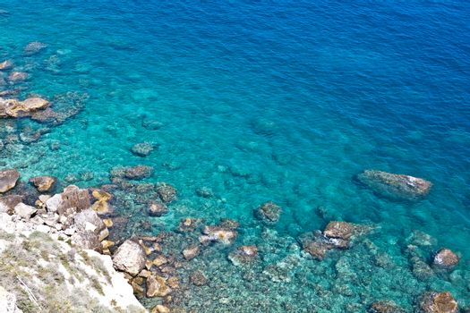 View of the Tremiti Islands. Overview of rock stone coast. San Domino island, Italy: scenic view of tipycal rocky coastline. Adriatic Sea. Puglia, Italy.