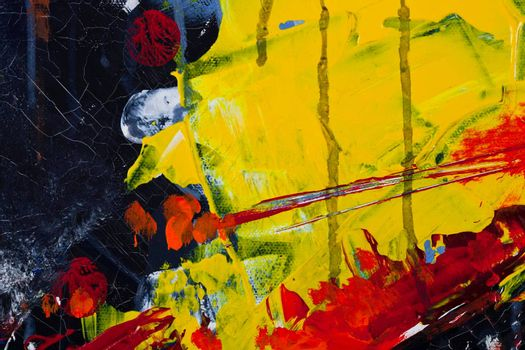 Yellow, red and black colored wall texture background. Decorative wall paint.
