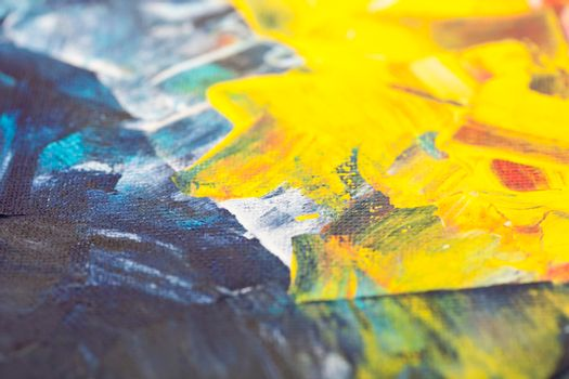 Blue and yellow colored wall texture background. Decorative wall paint.