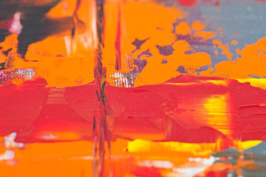 Orange, red and grey colored wall texture background. Decorative wall paint.