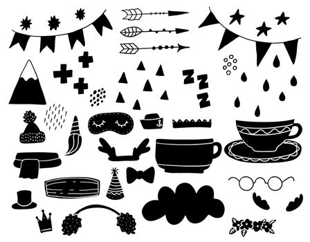 Doodle geometric abstract trendy scandinavian black shapes. Vector hand drawn monochrome elemens for kids fabric textile.