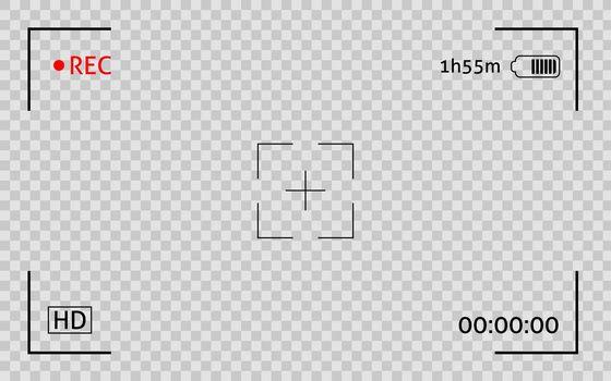 Camera viewfinder frame. Display snapshot digital video record screen. Filn rec camcoder template