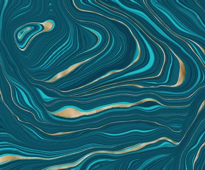 Agate stone texture with gold. Blue green turquoise Fluid marbling effect with gold vein. Abstract Agate Background. Illustration
