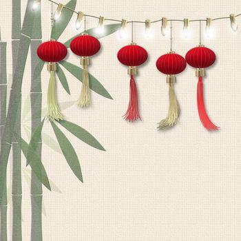 Lantern festival, mid autumn lantern celebration. Traditional Chinese lanterns, bamboo on pastel yellow background. Chinese New Year. Text Chinese translation Happy Lantern festival, 3D rendering