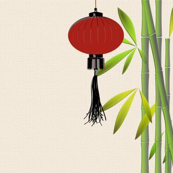Red hanging lanterns, bamboo on yellow background. Traditional Asian decor for Lantern festival, mid autumn celebration, Chinese New Year. Place for text. 3D illustration