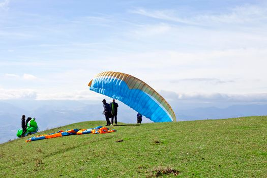 Monte San Vicino, Italy - November 1, 2020: Paragliding in the mountains, Marche, Italy.
