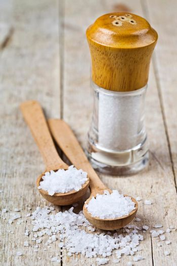 Wooden spoon with sea salt and cellar closeup on wooden rustic table.