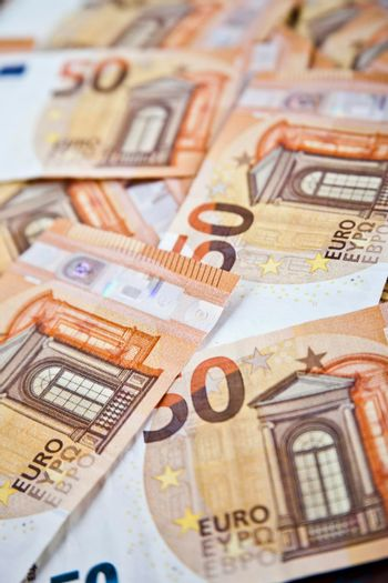 Fifty euro banknotes background.