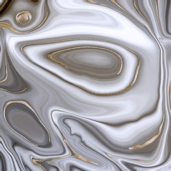 Beautiful grey curly marble agate with golden veins. Abstract marbling agate texture and shiny gold curves background. Fluid marbling effect . illustration