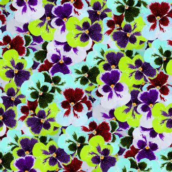 multi-color floral print collage, seamless floral pattern. delicate flowers of pansies. decorative elements for design and creativity