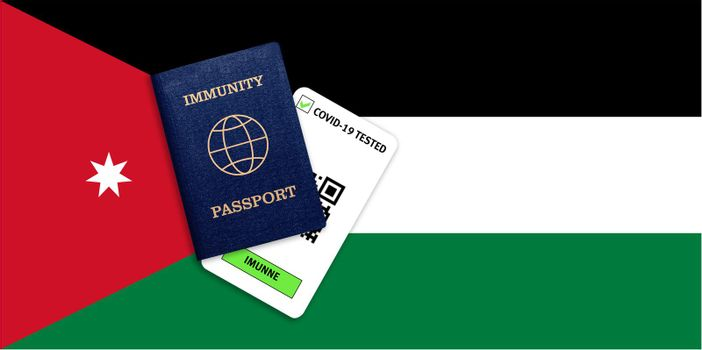 Concept of Immunity passport, certificate for traveling after pandemic for people who have had coronavirus or made vaccine and test result for COVID-19 on flag of Jordan