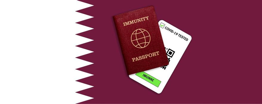 Concept of Immunity passport, certificate for traveling after pandemic for people who have had coronavirus or made vaccine and test result for COVID-19 on flag of Qatar