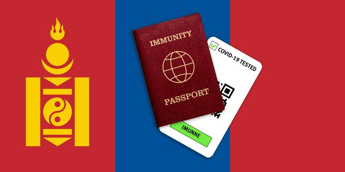 Concept of Immunity passport, certificate for traveling after pandemic for people who have had coronavirus or made vaccine and test result for COVID-19 on flag of Mongolia