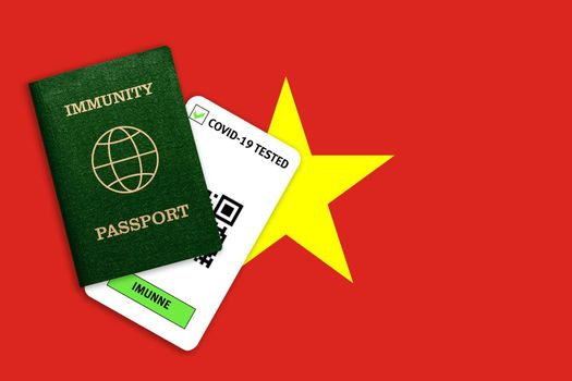 Concept of Immunity passport, certificate for traveling after pandemic for people who have had coronavirus or made vaccine and test result for COVID-19 on flag of Vietnam