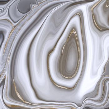 Beautiful realistic grey abstract marble agate with golden veins. Abstract marbling agate texture and shiny gold curves background. Horizontal fluid marbling effect. Illustration