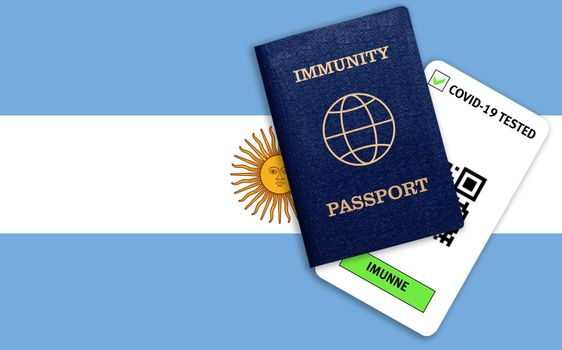 Concept of Immunity passport, certificate for traveling after pandemic for people who have had coronavirus or made vaccine and test result for COVID-19 on flag of Argentina
