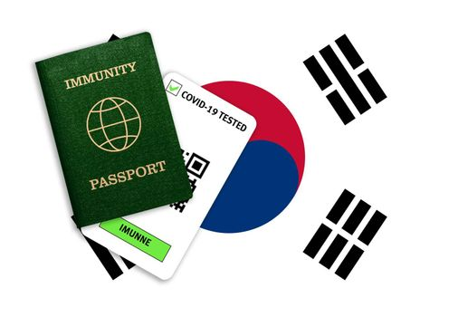 Concept of Immunity passport, certificate for traveling after pandemic for people who have had coronavirus or made vaccine and test result for COVID-19 on flag of South Korea