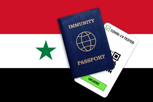 Concept of Immunity passport, certificate for traveling after pandemic for people who have had coronavirus or made vaccine and test result for COVID-19 on flag of Syria
