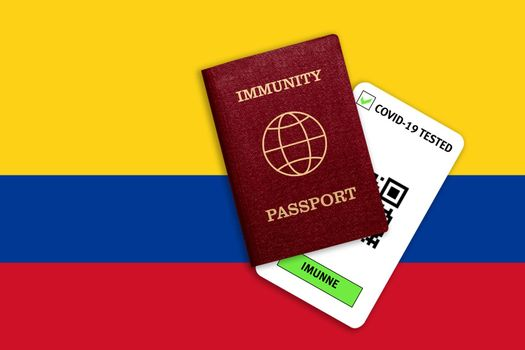 Concept of Immunity passport, certificate for traveling after pandemic for people who have had coronavirus or made vaccine and test result for COVID-19 on flag of Colombia