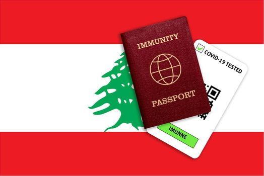 Concept of Immunity passport, certificate for traveling after pandemic for people who have had coronavirus or made vaccine and test result for COVID-19 on flag of Lebanon