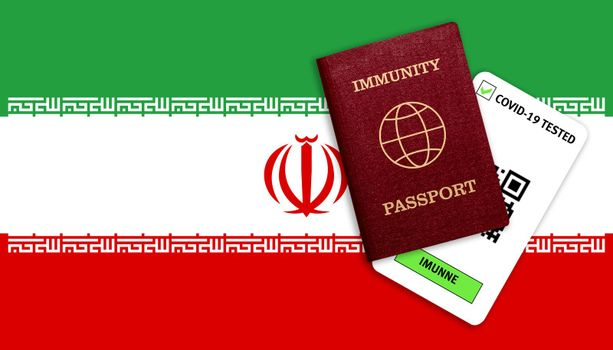 Concept of Immunity passport, certificate for traveling after pandemic for people who have had coronavirus or made vaccine and test result for COVID-19 on flag of Iran