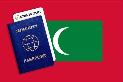 Concept of Immunity passport, certificate for traveling after pandemic for people who have had coronavirus or made vaccine and test result for COVID-19 on flag of Maldives