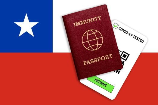 Concept of Immunity passport, certificate for traveling after pandemic for people who have had coronavirus or made vaccine and test result for COVID-19 on flag of Chilie