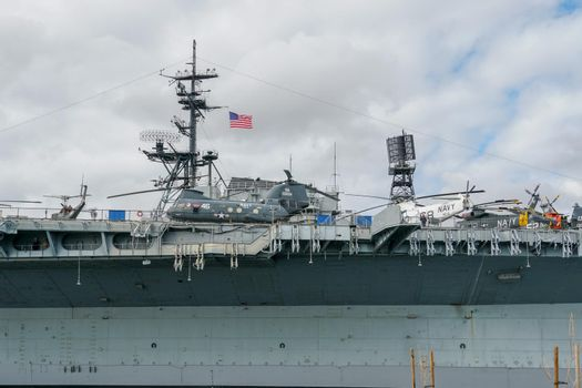 USS Midway Museum, historical naval aircraft carrier museum in downtown San Diego, California. Aircraft carrier Midway. The ship houses an extensive collection of aircraft. February 12th, 2021