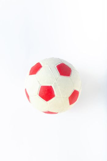 toy soccer ball, rubber ball for dog or cat on white background.