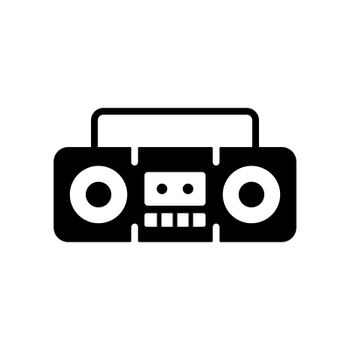 Boombox cassette stereo recorder vector glyph icon
