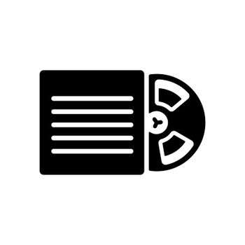 Magnetic tape reel, retro music tape storage glyph icon