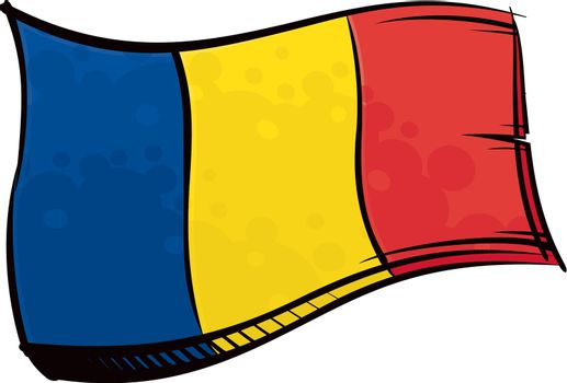 Painted Romania flag waving in wind