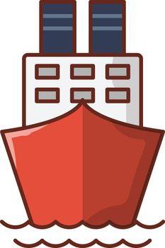 ship vector line flat icon