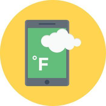 mobile weather fahrenheit vector flat colour icon