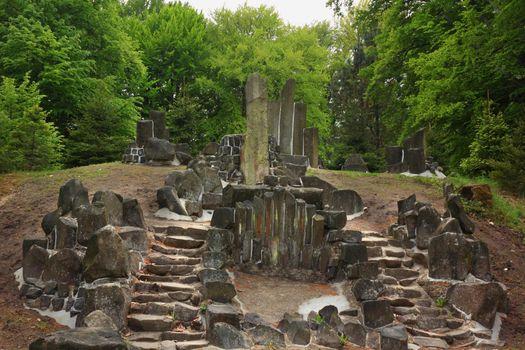 Mysterious stairs made of basalt columns in Kromalu