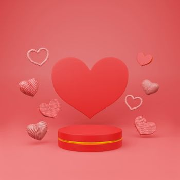 Red podium with beautiful heart sharp floating
