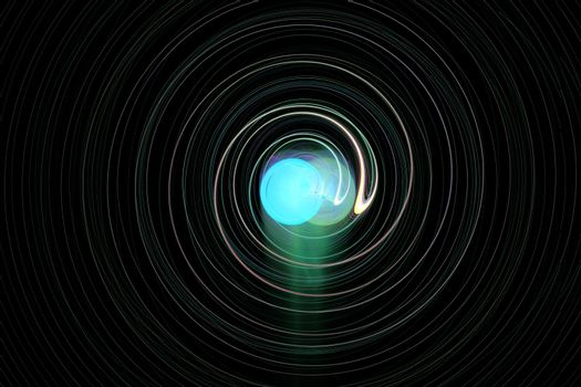 On a black background spiral lines with a blue glowing ball in the center.