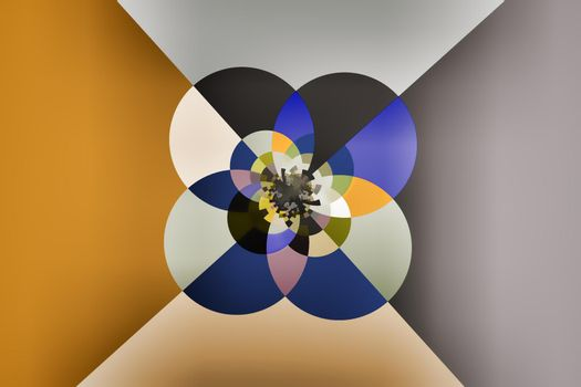 Illustration: beautiful picture of fractal structures in the form of multi-colored circles and ovals.